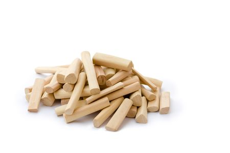 sandals: Collection of Sandalwood sticks isolated over white background