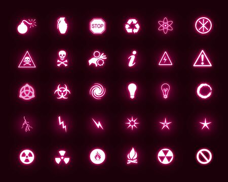 This image set is a collection of web icons of energy, power, danger etc photo