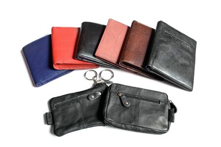 Many more wallet in vibrant color over white background   photo