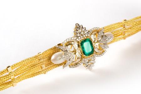 Diamond bracelet with many stones on white background Stock Photo - 7676655