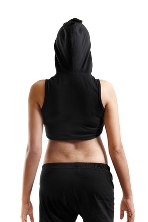 Indian Young Woman In Workout Clothe From Behind photo