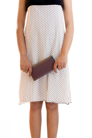 Indian girl with leather pure over white skirt   photo