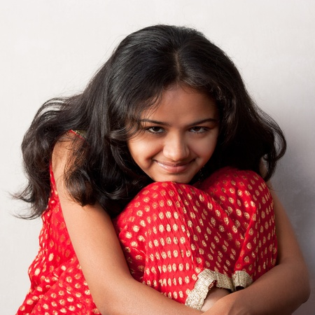 shy girl: Shy smile of beautiful Indian girl