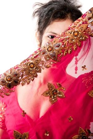 Beautiful Indian happy  woman in pink sari photo