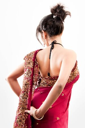 Beautiful Indian happy  woman in pink sari Stock Photo - 9423129