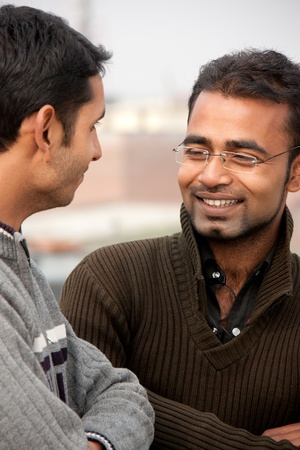 two indian man on discussion  photo