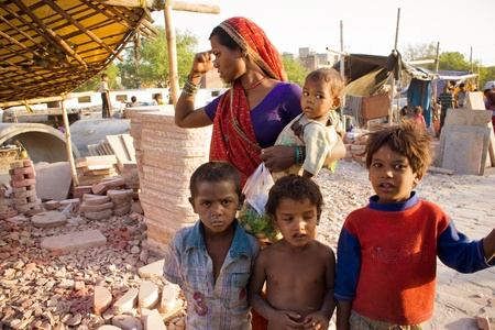 An Indian poor family living under poverty line.
