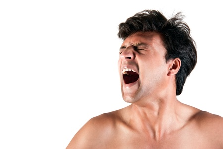 Angry Indian man screaming in extreme rage over white background Stock Photo - 10048124