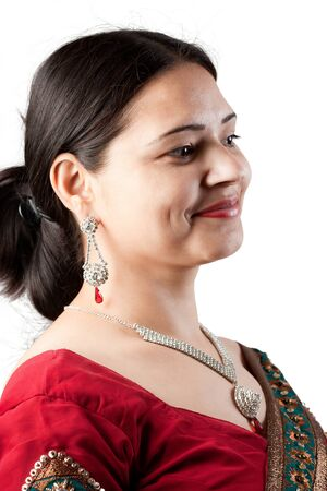 saree: Smiling Indian happy woman wearing  beautifully embroidered red sari
