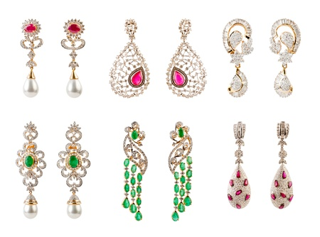 diamond earrings: Pairs of Earrings with diamonds isolated over white background Stock Photo