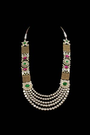 Close up of diamond necklace on black background Stock Photo - 10509478