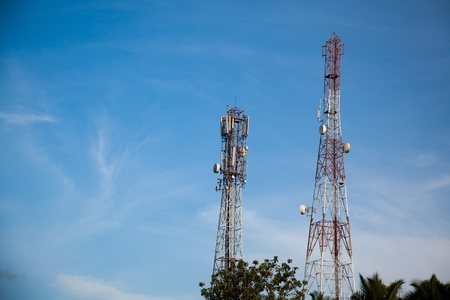 industrialized: Telecommunications pylons with antenna for TV and mobile phone signals.