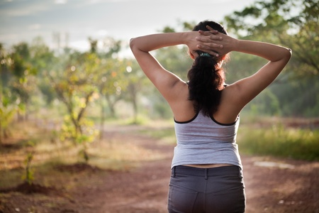 jogging in nature: Indian girl on morning exercise or jogging in natural background