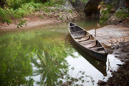 india fisherman: Beautiful view of small fishing boat on the lake in udupi Karnataka India