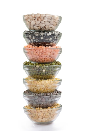 Grains pulses and beans in bowl isolated over white over Stok Fotoğraf