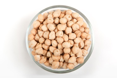 chickpea: Collection of chickpeas in transparent glass bowl