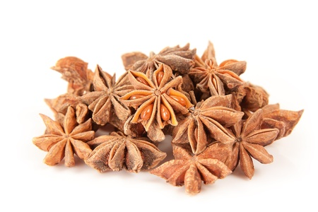 herbe: Collection of star anise over white background