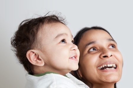 Indian Happy mother and son laughing photo