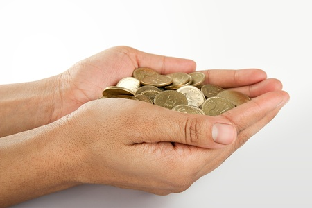 Pile of money  indian coin  in hand Stock Photo - 14306344