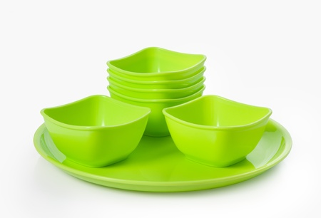 Close up of plastic  microwave bowl and plate isolated over white