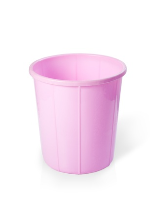 wastepaper basket: Plastic dust bin isolated over white background