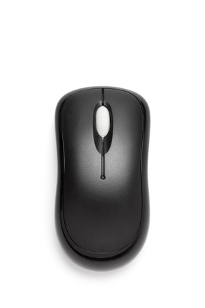 computer accessory: Close up of black wireless mouse isolated over white , top view