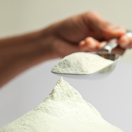 Collection dairy milk powder  isolated over gray