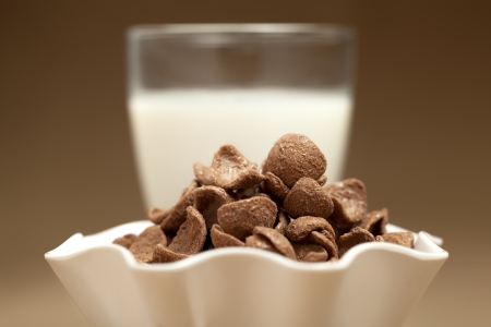 heaping: Chocolate cornflakes in white bowl and milk  glass in sepia background Stock Photo
