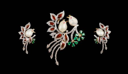 pendant: Designer diamond bird cot-pin brooch, ring pendant