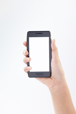touching screen mobile smart phone in hand  Close-up image with shallow depth photo