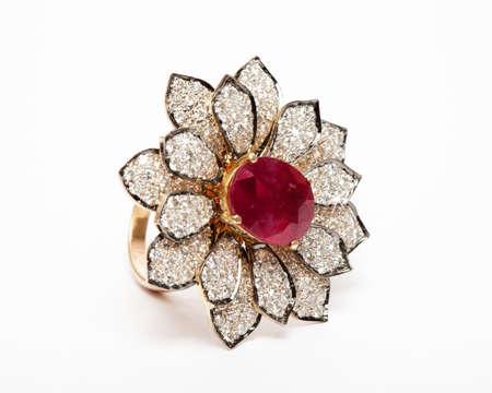 Close -up of diamond ring having many diamonds gem over white background Stock Photo - 19438732
