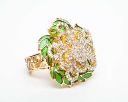 Close -up of diamond ring having many diamonds gem over white background Stock Photo - 19438745