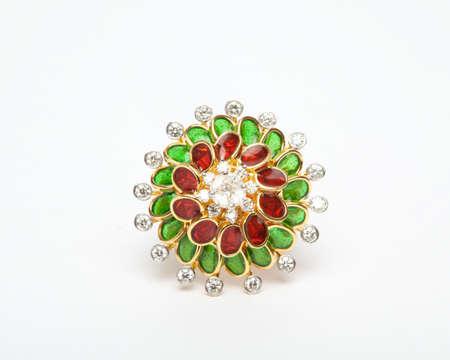 Close -up of diamond ring having many diamonds gem over white background Stock Photo - 19438743