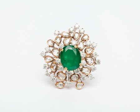 Close -up of diamond ring having many diamonds gem over white background Stock Photo - 19438740