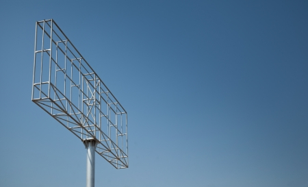Iron structure of billboard or uni-pole under blue sky Stock Photo - 19438749