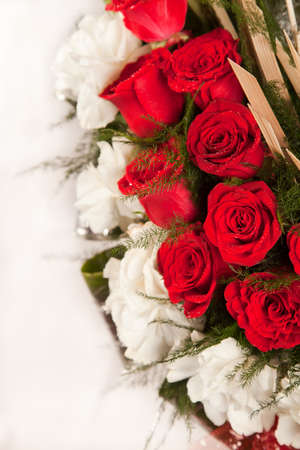 Beautiful Bouquet of red rose flower on white Stock Photo - 19438744