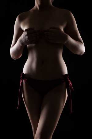 Nude indian woman with perfect body in studio light over black background Stock Photo - 21377497