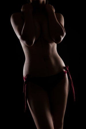 Nude indian woman with perfect body in studio light over black background Stock Photo - 21377498