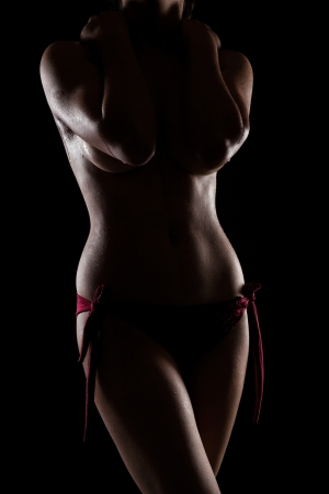 Nude indian woman with perfect body in studio light over black background Stock Photo - 21377499