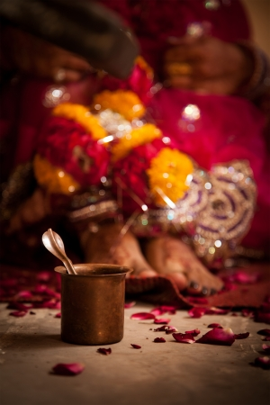 Ritual during a hindu marriage in india photo