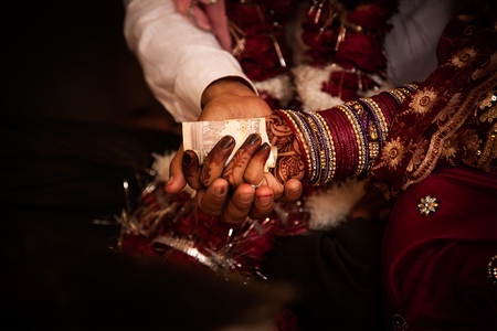 bride bangle: Ritual during a hindu marriage in india