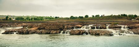 madhya pradesh: Panoramic view of beautiful river with many waterfalls , shastradhara water fall , mandala, Madhya pradesh india