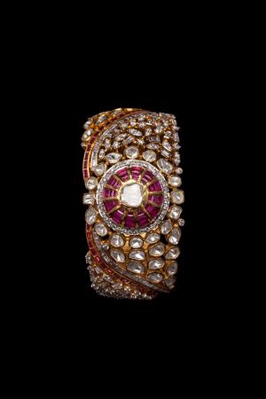 armlet: Close up of diamond bracelet on black background Stock Photo