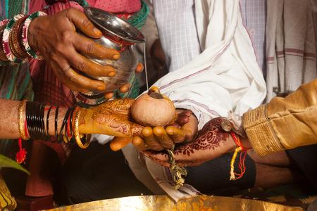indian wedding: Kanyadaan Ritual during a hindu marriage in india
