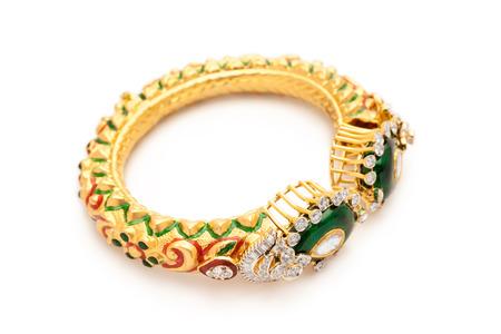 armlet: Close up of designer gold and diamond bracelet