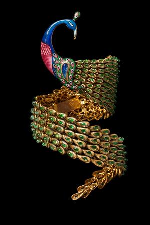 armlet: Close up of gold and diamond bracelet Stock Photo