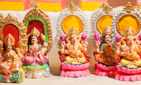 parvati: Goddess Lakshmi and Lord Ganesha in Diwali Stock Photo