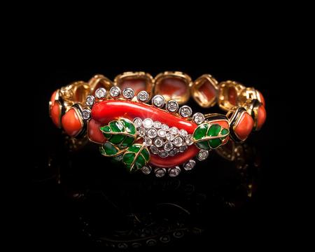 armlet: Close up of designer diamond bracelet