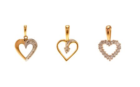 pendants: Set of diamond pendants in Heart Shape
