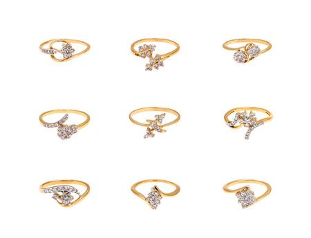 diamond rings: Collage of diamond rings on white background Stock Photo